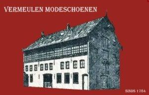 Logo Vermeulen Modeschoenen, Pand, Kerkstraat 2a Dongen, Leerlooierij, Schoenmakerij, schoenenwinkel